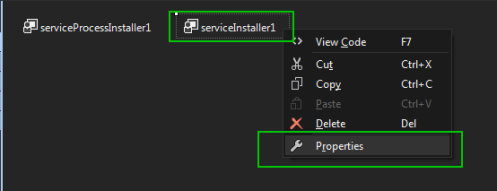 Properties On servicesInstaller1